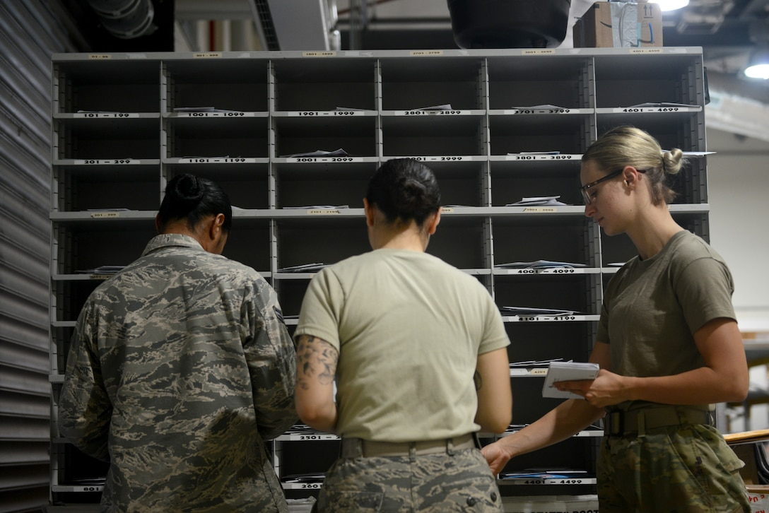 U.S. Air Force Airmen from the 31st Force Support Squadron sort mail, Aug. 2, 2019, at Aviano Air Base, Italy. The 31st FSS is the 31st Fighter Wing's largest and most diverse squadron, comprised of more than 600 military and civilian personnel whose primary mission is to enhance combat capability, readiness, and quality of life for a community of nearly 10,000 military members, DoD civilians, local national employees, and dependents. (U.S. Air Force photo by Airman 1st Class Ericka A. Woolever)