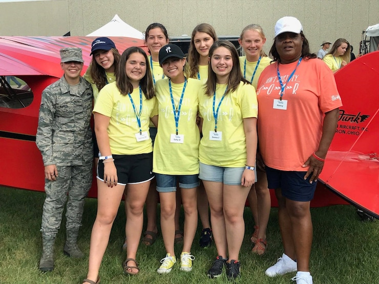 Avionics Airman inspires young women at GirlVenture aviation camp