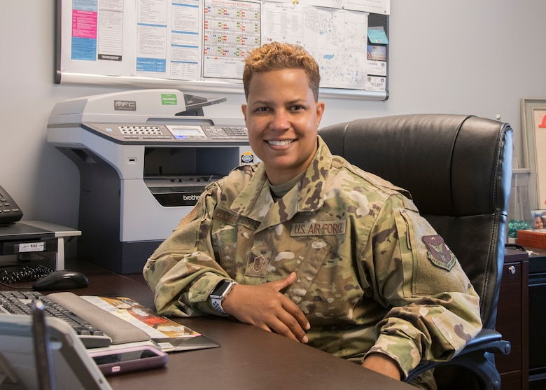 Master Sgt. Heather Lucas-Baptiste, Dover Air Force Base's Air Force Reserve in-service recruiter, sits in her office at the Visitors Center July 22, 2019, at Dover Air Force Base, Del. Lucas-Baptiste assists Airmen transitioning from active duty to the reserves through the Palace Chase and Palace Front programs. (U.S. Air Force photo by Staff Sgt. Zoe Russell)