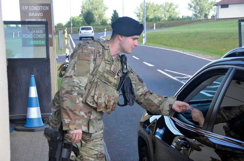 Senior Airman Jackson Brown, 445th Security Forces Squadron, performs installation security June 21, 2019, at Spangdahlem Air Base, Germany. An important function of SF personnel is to protect the integrity of Air Force bases and installation assets.