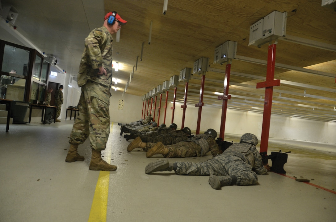 Airmen with the 445th Security Forces Squadron conduct small arms marksmanship training for active-duty personnel June 21, 2019, at Spangdahlem Air Base, Germany.
