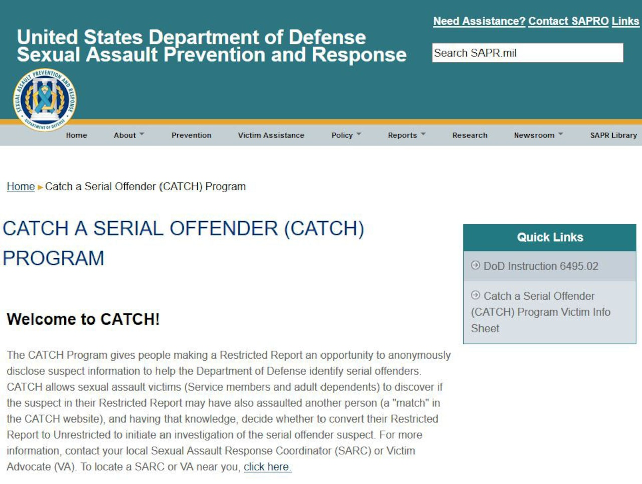 Screenshot of DOD's CATCH website.