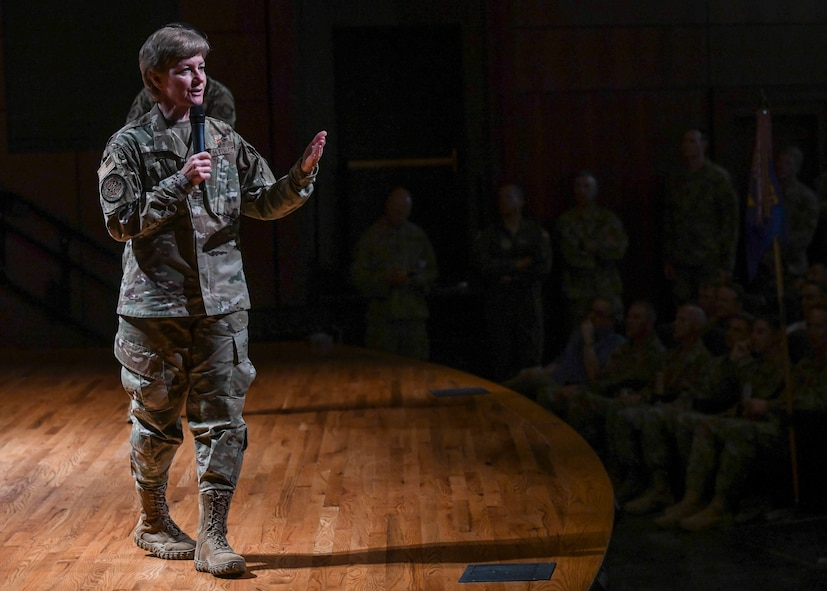 Gen. Maryanne Miller, commander of Air Mobility Command, speaks at an all-call during a visit to Joint Base Charleston, South Carolina, July 30, 2019. Miller spoke about AMC's priorities, mission and how Airmen play a role in the mission. Miller visited JB Charleston July 29 to August 1 to get a first-hand look at mission capabilities, new innovative programs and how JB Charleston is taking care of its service members to build a stronger mobility force. AMC's mission is to provide rapid, global mobility and sustainment for America's armed forces. The command also plays a crucial role in providing humanitarian support at home and around the world.