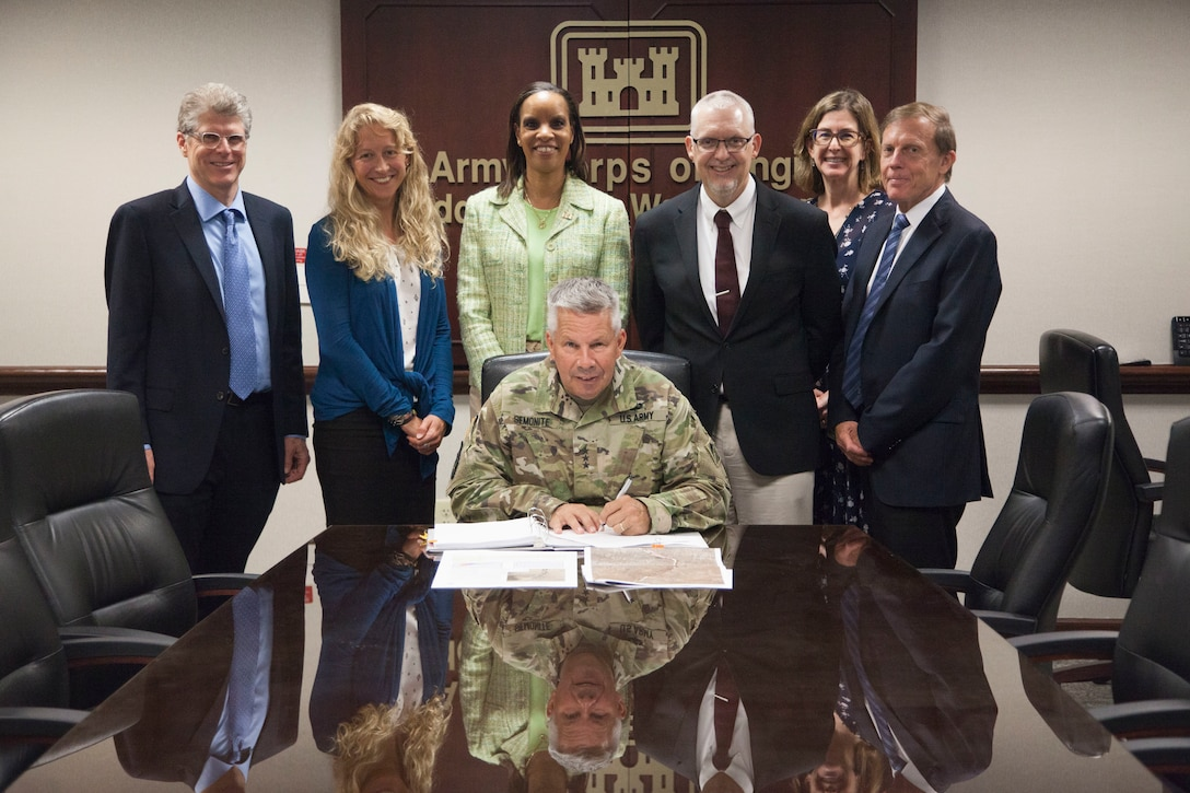 Lt. Gen. Todd T. Semonite, USACE Commanding General and 54th U.S. Army Chief of Engineers, signed the recommended plan to restore approximately 216 acres of the Middle Rio Grande bosque, Aug. 5, 2019. If authorized, this project improves hydrologic function by constructing high-flow channels, willow swales, and wetlands, and restores native vegetation and habitat. The signing of the Rio Grande Sandia-Isleta Chief's Report progresses the project to Congress for authorization. More information on this project from Albuquerque District, U.S. Army Corps of Engineers, can be found here: https://go.usa.gov/xyuZC