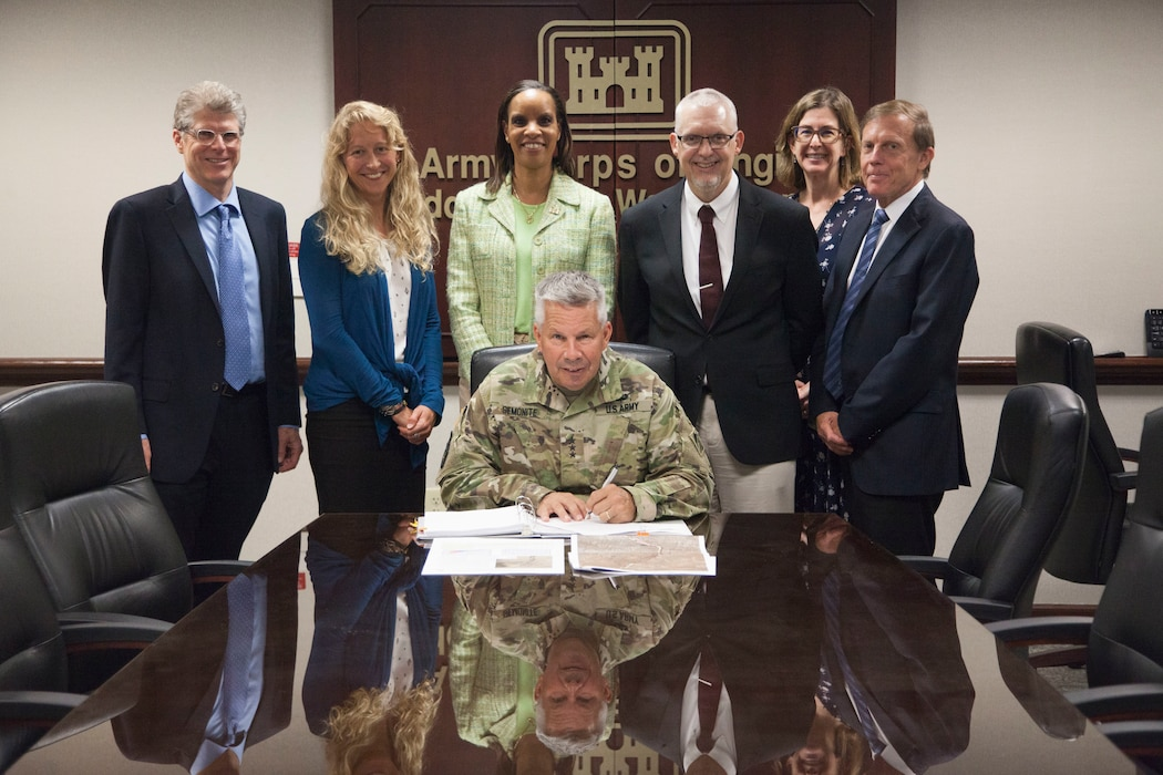 Lt. Gen. Todd Semonite signed the recommended plan to restore approx. 216 acres of the Middle Rio Grande bosque, Aug. 5, 2019. If authorized, this project improves hydrologic function by constructing high-flow channels, willow swales, and wetlands, and restores native vegetation and habitat.