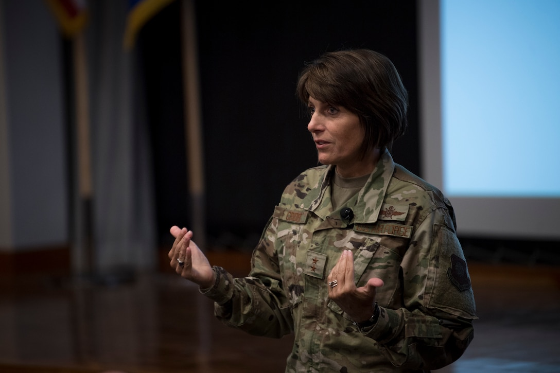 Maj. Gen. Kimberly Crider, mobilization assistant to the Air Force Space Command commander, gives the keynote speech at the AFSPC Chief Data Office Innovation Summit at Headquarters AFSPC, July 30-31, 2019. AFSPC held the event to unveil the command's new enterprise data strategy, its construct, why it is needed, and how it will make U.S. and Allied warfighters more agile and lethal. (U.S. Air Force photo by Staff Sgt. Dennis Hoffman)