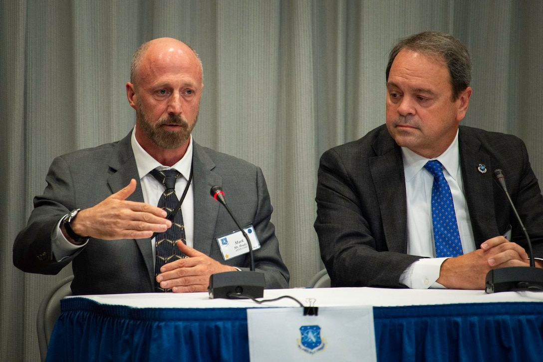 Dr. Mark Brady, Air Force Space Command chief data officer, participates in a panel discussion during the AFSPC Chief Data Office Innovation Summit at Headquarters AFSPC, July 30-31, 2019. Attendees included representatives from the State Department, NASA, U.S. Strategic Command, Pacific Air Forces and Air Combat Command, as well as the many organizations within AFSPC. (U.S. Air Force photo by Staff Sgt. Justin Armstrong)