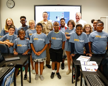 Norfolk Naval Shipyard Commandar Capt. Kai Torkelson visited Starbase Victory at Victory Elementary School for the final week of summer camp activities. NNSY and Starbase Victory have been in partnership since 2002 to help bring science progrmas to Portsmouth Public Schools.