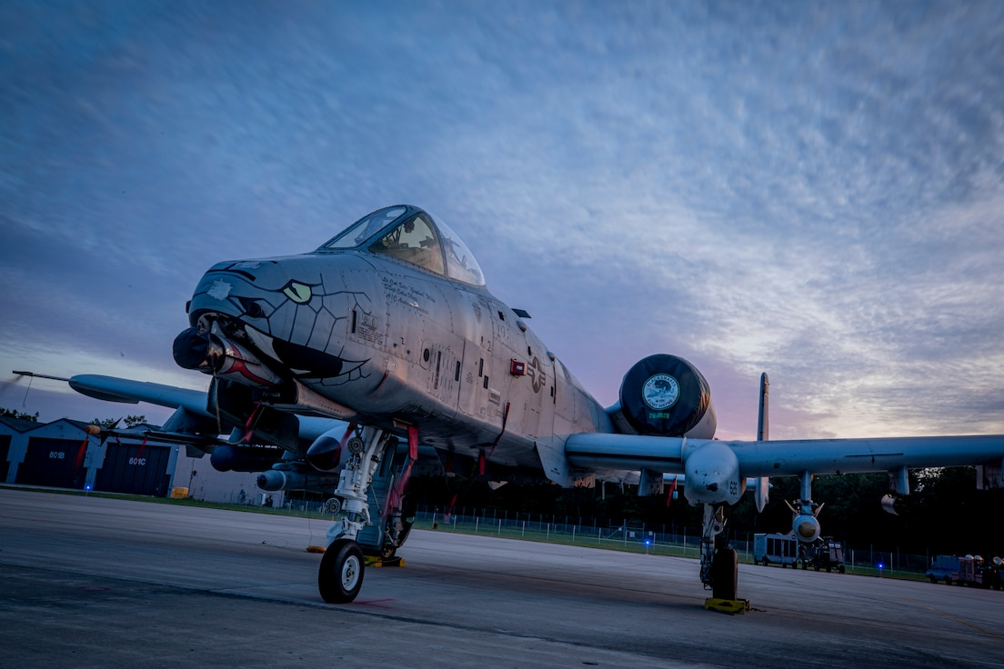 A U.S. Air Force A-10C Warthog from the 122nd Fighter Wing sits on the flight line during Northern Strike 19 at the Alpena Combat Readiness Training Center in Alpena, Mich.