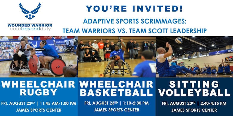 Poster invite for the adaptive sports scrimmages.