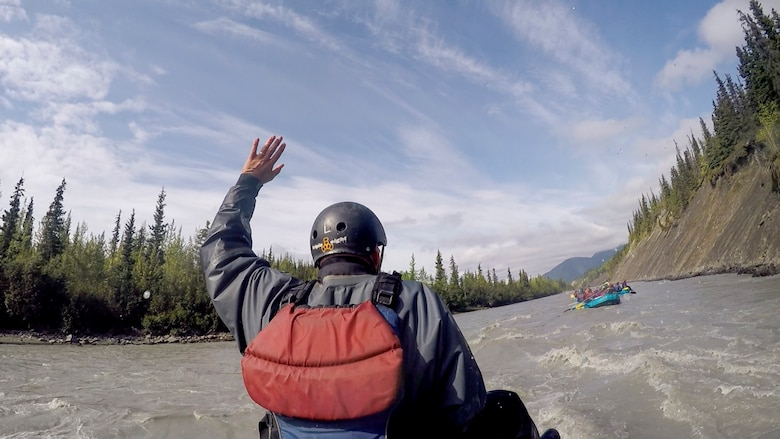 Members from the 673d Civil Engineer Group ride whitewater rapids on the Matanuska River, Alaska, as a Task Force True North activity July 26, 2019. Task Force True North is an initiative started in July 2018 to address Comprehensive Airman Fitness and decrease negative outcomes like sexual assault, suicide, domestic and workplace violence. Task Force True North embeds a religious support team and mental health counselors in groups to decentralize resources available to Airmen.