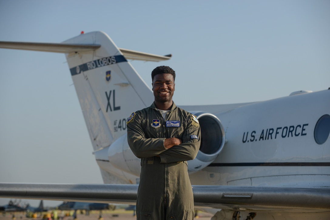 47th Flying Training Wing Class 19-17 graduate and Order of Daedalians AETC Commander's Trophy recipient, 1st Lt. Tyler Weaver, stands in front of a T-1A Jayhawk at Laughlin Air Force Base, Texas, the morning before transitioning to a follow-on advanced aircraft training on July 31, 2019.The AETC Commander's Trophy, is an award presented to a student from each graduating class who demonstrates outstanding performance with assigned check rides, daily flying operations, as well as maintains an exceptional commander's ranking and academic score while completing specialized undergraduate pilot training. (U.S. Air Force photo by Capt. Mahalia Frost)
