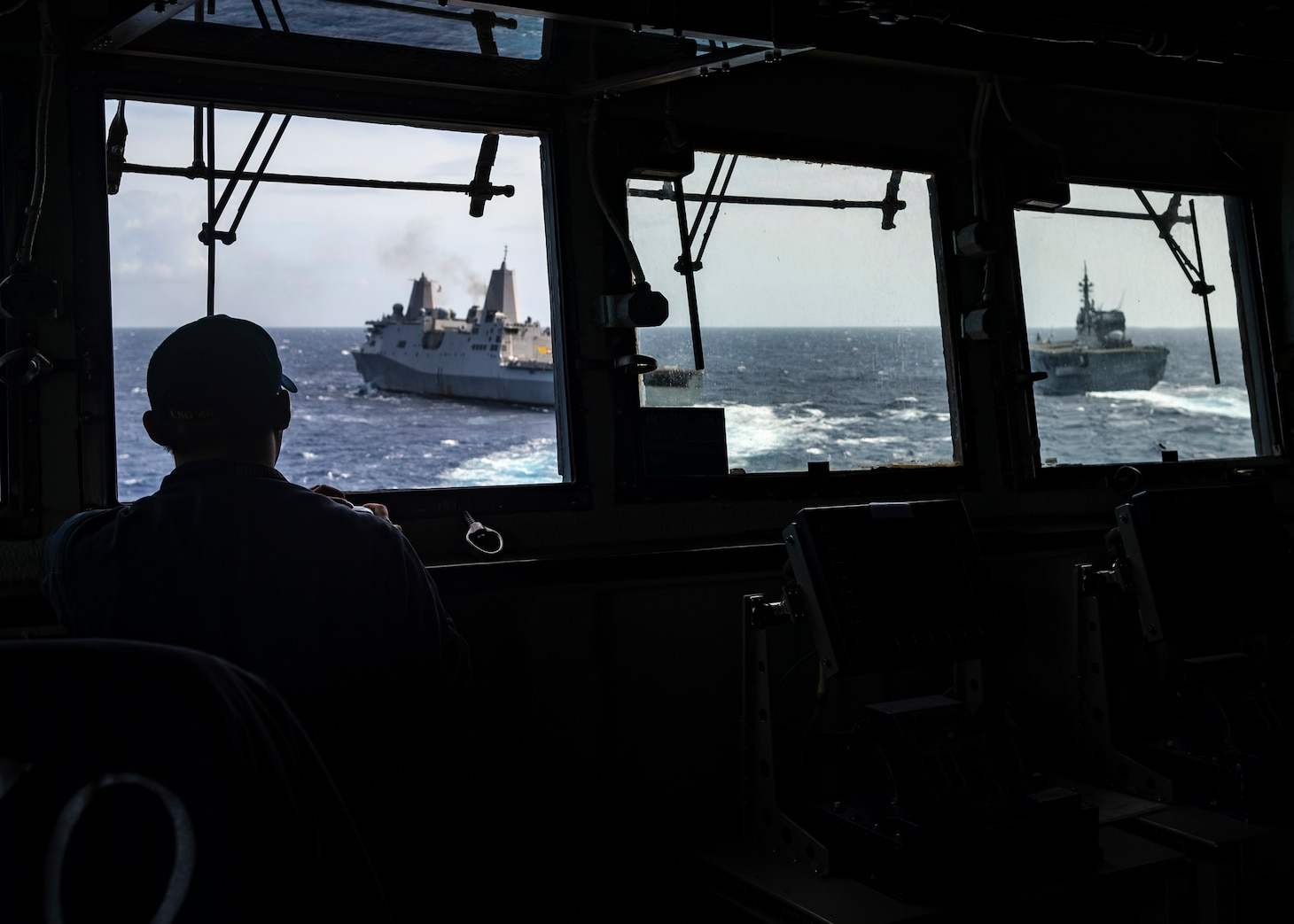 CORAL SEA (August 01, 2019) – The amphibious dock landing ship USS Ashland (LSD 48) sails with the amphibious transport dock ship USS Green Bay (LPD 20), left, and the Japan Maritime Self-Defense Force destroyer helicopter ship JS Ise (DDH 182). Ashland, part of the Wasp Amphibious Ready Group, with embarked 31st Marine Expeditionary Unit, is operating in the Indo-Pacific region to enhance interoperability with partners and serve as a ready-response force for any type of contingency.