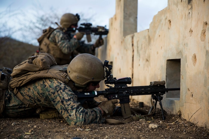 U.S. Marines with Special Purpose Marine Air-Ground Task Force-Crisis Response-Africa 19.2, Marine Forces Europe and Africa, rehearse infantry tactics during a training exercise in Dakar, Senegal, Aug. 3, 2019.