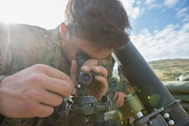 A U.S. Marine with Marine Rotational Force-Europe 19.2, Marine Forces Europe and Africa, sets up an M252 81 mm mortar system during exercise Agile Spirit 2019 in Orpholo, Georgia, August 3, 2019.