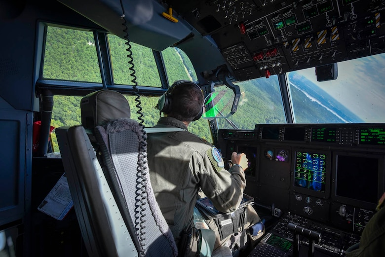 Maj. Seth Lake, 327th Airlift Squadron pilot participates in a training flight to enhance readiness on August 3, 2019, at Little Rock Air Force Base, Ark. The majority of our Reserve members have to meet the same requirements of Active Duty personnel. This means they have to balance a fulltime civilian job or college studies while maintaining their military readiness. The airspace, terrain, drop zones, landing zones, and local airports here in Arkansas are excellent venues for training and the relationship the base has with Arkansas affords the resources to execute the mission. (U.S. Air Force photo by Senior Airman Nathan Byrnes)