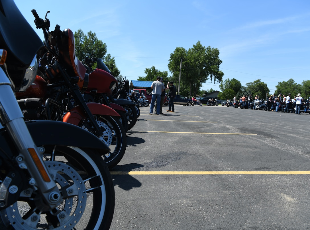 Motorcycles sit and cool down after the Dakota Thunder Run at Sturgis, S.D., Aug. 6, 2019. Over 170 motorcycle riders rode from Ellsworth Air Force Base to Sturgis to participate in the 19th annual Veteran's Recognition Ceremony and enjoy the events of the motorcycle rally. (U.S. Air Force photo by Senior Airman Thomas Karol)