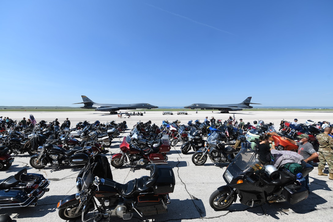 Motorcycles line up before riding in the Dakota Thunder Run at Ellsworth Air Force Base, S.D., Aug. 6, 2019. Over 170 motorcycle riders rode from the base to Sturgis to participate in the 19th annual Veteran's Recognition Ceremony and enjoy the events of the motorcycle rally. (U.S. Air Force photo by Senior Airman Thomas Karol)