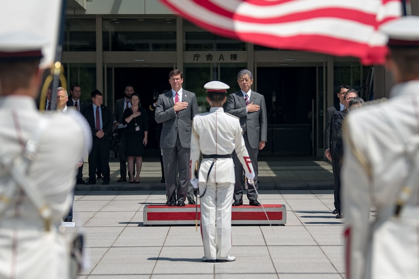Defense Secretary Dr. Mark T. Esper stands with the Japanese Defense Minister.