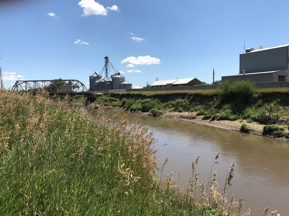 Photo of the Pender levee bank erosion and bridge structure damage from the March high water event.  Photo taken during the July 29, 2019 site visit.