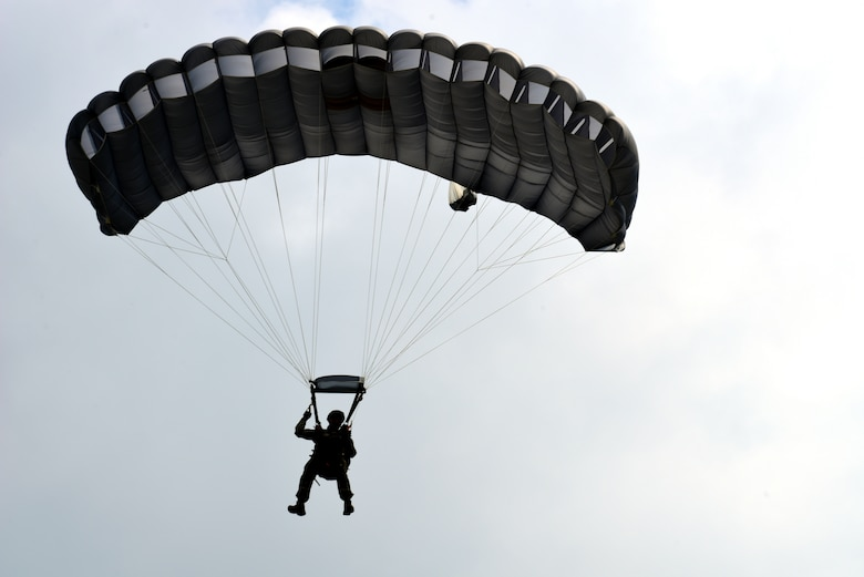 An Airman parachutes onto the airfield at Aviano Air Base, Italy, May 3, 2019. (U.S. Air Force photo by Airman 1st Class Caleb House)