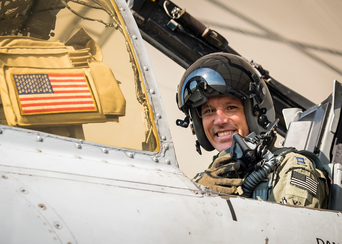 Capt. Robert Poe, 74th Fighter Squadron chief of safety and A-10C Thunderbolt II pilot, poses for a photo, June 28, 2019, at Moody Air Force Base, Ga. Poe is one of the few Airmen who have earned three different aviation badges. During his 15-year career, Poe earned his enlisted aircrew wings as a boom operator for KC-135 Stratotankers, then commissioned as a navigator for the U-28A aircraft and earned his combat systems officer badge. In 2013 he cross-trained to earn his pilot wings and become an A-10 pilot. (U.S. Air Force photo by Airman 1st Class Eugene Oliver)
