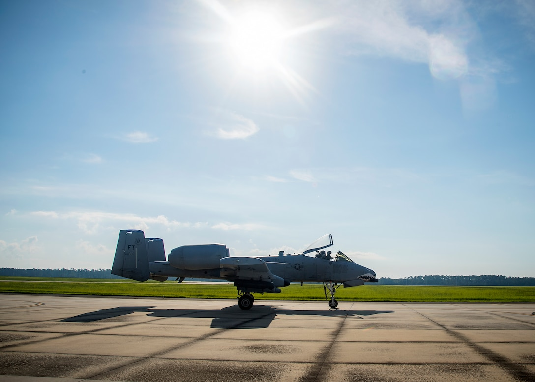 Capt. Robert Poe, 74th Fighter Squadron chief of safety and A-10C Thunderbolt II pilot, taxis an A-10 on the flightline, June 28, 2019, at Moody Air Force Base, Ga. Poe is one of the few Airmen who have earned three different aviation badges. During his 15-year career, Poe earned his enlisted aircrew wings as a boom operator for KC-135 Stratotankers, then commissioned as a navigator for the U-28A aircraft and earned his combat systems officer badge. In 2013 he cross-trained to earn his pilot wings and become an A-10 pilot. (U.S. Air Force photo by Airman 1st Class Eugene Oliver)