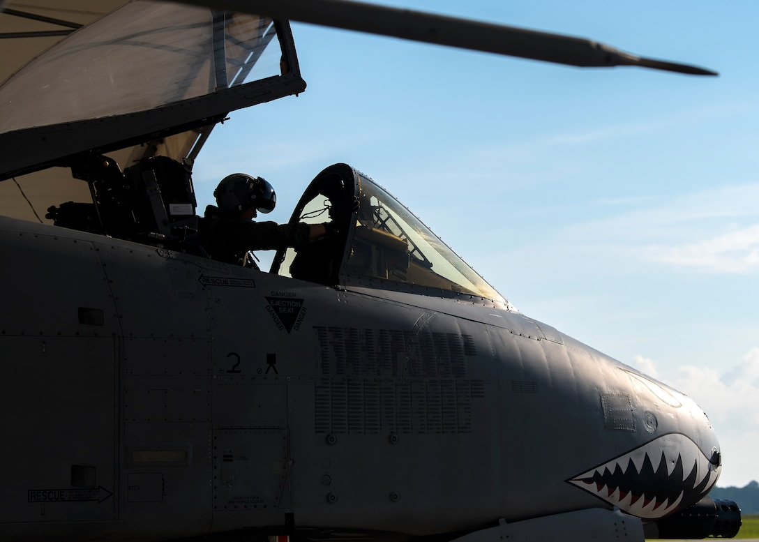 Capt. Robert Poe, 74th Fighter Squadron chief of safety and A-10C Thunderbolt II pilot, prepares to taxi an A-10, June 28, 2019, at Moody Air Force Base, Ga. Poe is one of the few Airmen who have earned three different aviation badges. During his 15-year career, Poe earned his enlisted aircrew wings as a boom operator for KC-135 Stratotankers, then commissioned as a navigator for the U-28A aircraft and earned his combat systems officer badge. In 2013 he cross-trained to earn his pilot wings and become an A-10 pilot. (U.S. Air Force photo by Airman 1st Class Eugene Oliver)