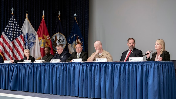 DLA Deputy Director Mike Scott (middle) and senior leaders from the agency's major subordinate commands describe current trends and future demands for each supply chain July 31 at DLA Industry Day at the McNamara Headquarters Complex on Fort Belvoir, Virginia.