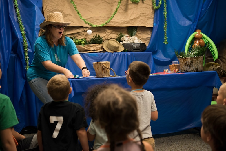 Children learn crafts at an imagination station during Vacation Bible School (VBS) August 6, 2019, at Mountain Home Air Force Base, Idaho. VBS is an annual event put on for youth to grow their faith and strengthen community relationships. (U.S. Air Force photo by Airman 1st Class Andrew Kobialka)