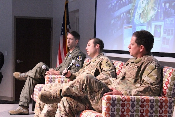 U.S. Air Force Lt. Col. Eric Axt (left), director of staff with the 33rd Fighter Wing, Eglin Air Force Base, Florida, U.S. Air Force Master Sgt. Christopher Hopfensperger (center) and U.S. Air Force Tech. Sgt. Barret Williams, combat controllers with the 24th Special Operations Wing, Hurlburt Field, Florida, participate in an Air Force Research Laboratory panel at Eglin Air Force Base, Florida, June 20, 2019. (courtesy photo)