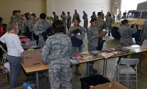 433rd Airlift Wing members pick up school supplies Aug. 4, 2019 at Joint Base San Antonio-Lackland, Texas.