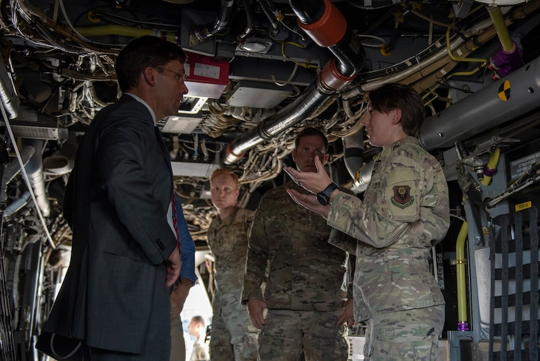 U.S. Air Force Capt. Laura Jones, 21st Special Operations Squadron flight commander, leads Secretary of Defense Dr. Mark T. Esper on a CV-22 Osprey tour at Yokota Air Base, Japan, Aug. 7, 2019