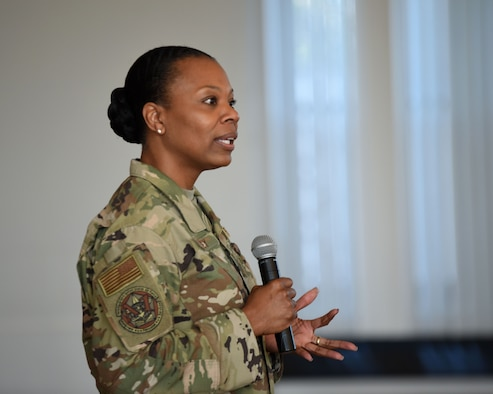 U.S. Air Force Chief Master Sgt. Janna Wesley, Chief of Military Force Management, speaks with 70th Intelligence, Surveillance and Reconnaissance Wing Airmen during a diversity and inclusion briefing at Fort George G. Meade, Maryland, Aug. 6, 2019. Wesley delivered a powerful speech and discussed overcoming barriers, as well as helping Airmen identify unconscious biases. (U.S. Air Force photo by Airman 1st Class Madison Frazier)