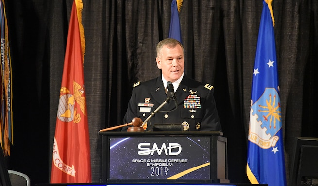 Lt. Gen. James H. Dickinson, commanding general, U.S. Army Space and Missile Defense Command, speaks at the 22nd Space and Missile Defense Symposium at the Von Braun Center, Huntsville, Alabama, Aug. 6. (U.S. Army photo by Dottie K. White)
