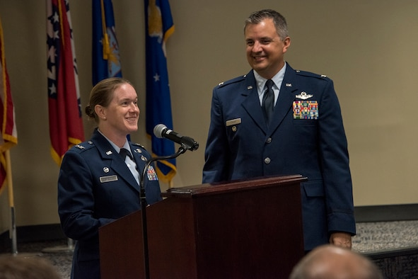Col. Sara A. Stigler, 188th Intelligence, Surveillance and Reconnaissance Group commander, delivers remarks during a promotion ceremony August 7, 2019, at Ebbing Air National Guard Base, Ft. Smith, Arkansas. The wing promoted Stigler and Patric D. Coggin, 188th Operations Support Squadron commander to the rank of colonel. (U.S. Air National Guard photo by Tech. Sgt. John E. Hillier)