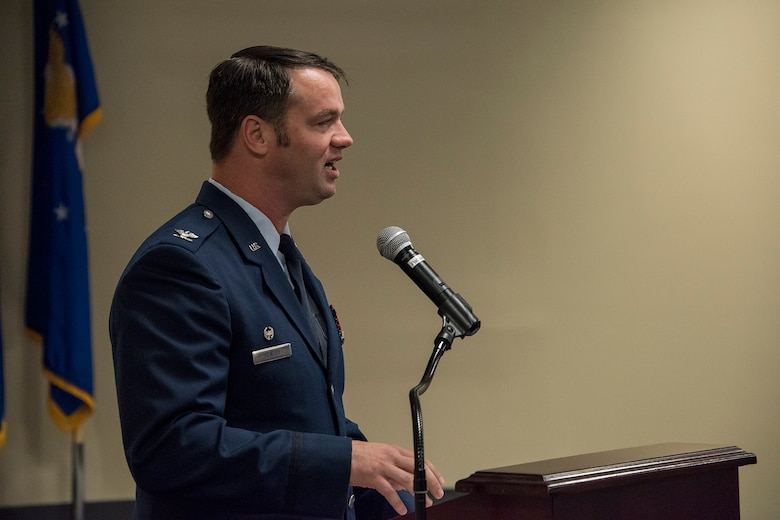 Col. Jeremiah S. Gentry, outgoing 188th Operations Group commander, delivers remarks during a change of command ceremony August 7, 2019, at Ebbing Air National Guard Base, Ft. Smith, Arkansas. Col. Patric D. Coggin assumed command of the 188th Operations Group from Gentry, who will be promoted to the position of wing vice commander during the wing's August 2019 unit training assembly. (U.S. Air National Guard photo by Tech. Sgt. John E. Hillier)