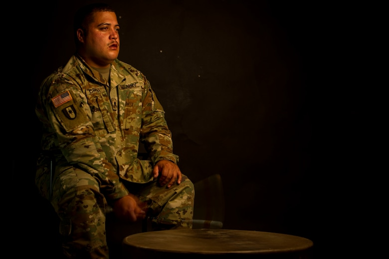 U.S. Army Specialist Nathan Creel, an animal care specialist assigned to the Charleston Veterinary Treatment Facility, performs on his southern drum at Joint Base Charleston, S.C., July 3, 2019.