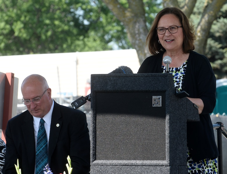 Deb Fischer, United States Senator, gives remarks during the groundbreaking ceremony for the Fisher House project at the Veteran Affairs Medical Center in Omaha, Nebraska Aug. 7, 2019. The new housing will open in 2020 and be able to accommodate up to 16 families of veterans, military servicemen and their families.