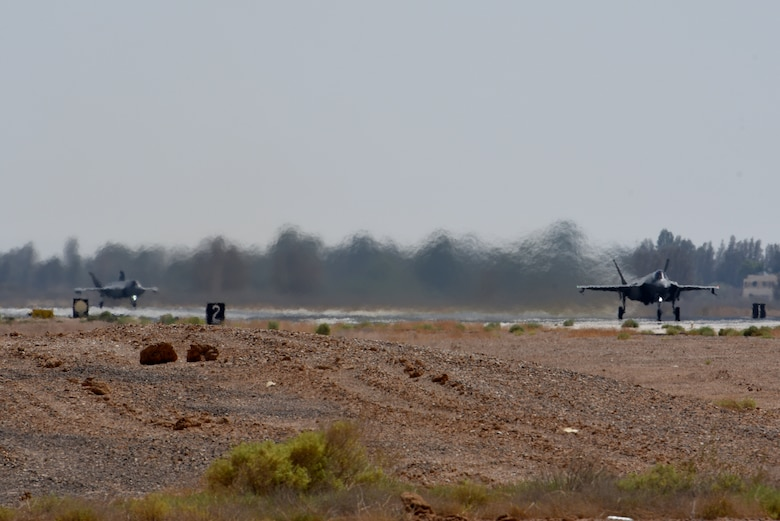 F-35As prepare to takeoff