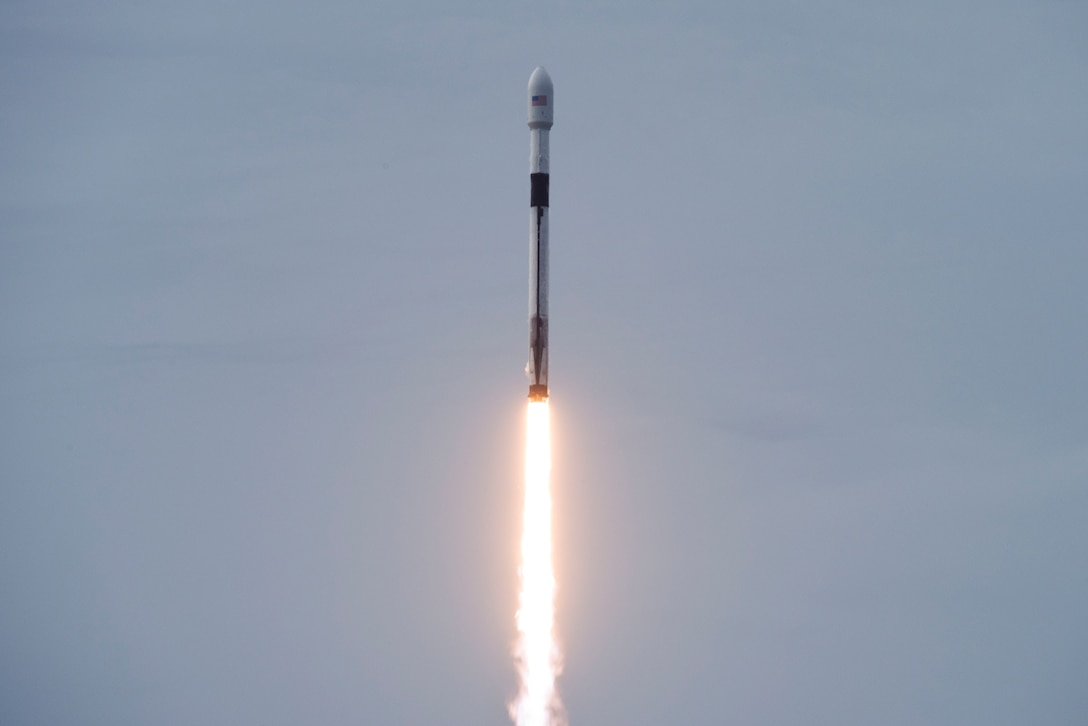 SpaceX's Falcon 9 AMOS-17 rocket launched on August 6, 2019, from Space Launch Complex-40 at Cape Canaveral Air Force Station, Fla. The AMOS-17 mission will be the most advanced satellite to provide satellite communication services to Africa. (U.S. Air Force photo by Airman 1st Class Zoe Thacker)