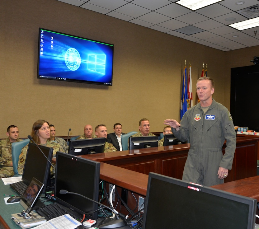 Brig. Gen. Kenneth Ekman, 1st Air Force (Air Forces Northern) Vice Commander, makes a point to participants during the Continental U.S. NORAD Region – 1st AF (AFNORTH) 2019 Cyber Summit. (U.S. Air Force Photo by Mary McHale)