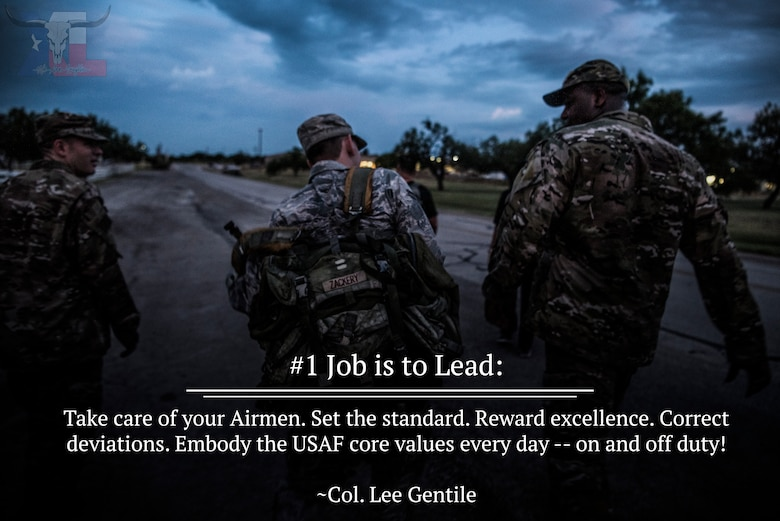 Col. Lee Gentile, 47th Flying Training Wing commander, will share his 12 expectations over the course of the next few months in a series of graphics. This week's charge is to understand the importance of our job to lead by example and how we can inspire our peers to tackle the mission head-on. (U.S. Air Force graphic by Airman 1st Class Marco A. Gomez)