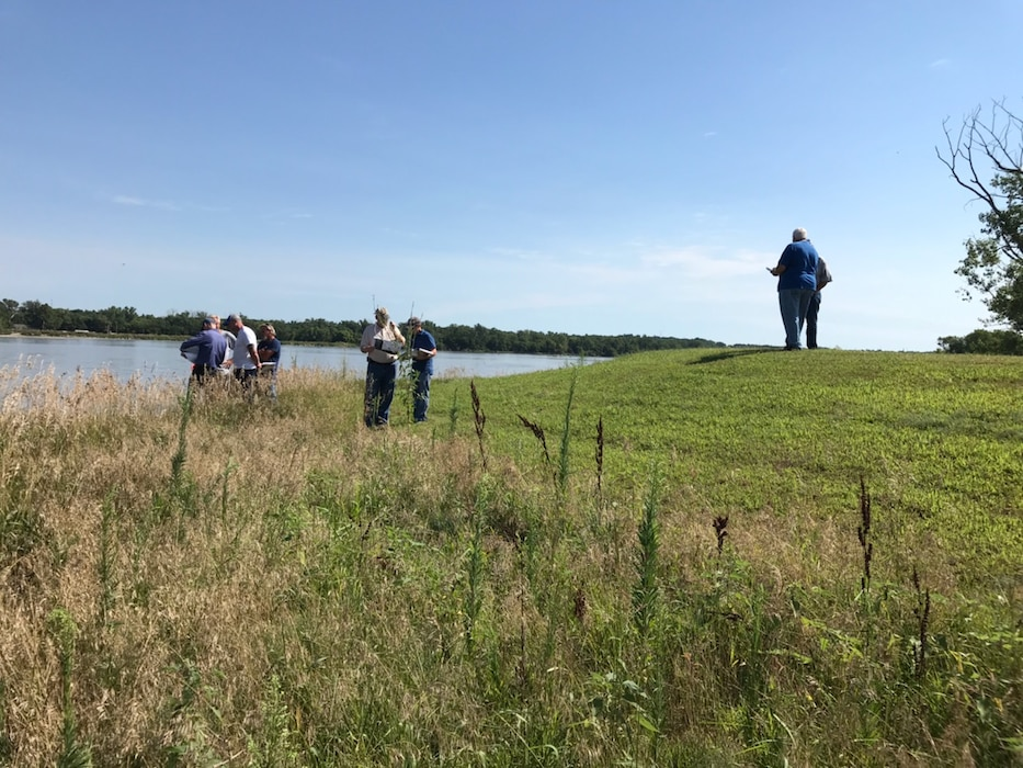 USACE Engineering and Construction Team and the Local Levee Sponsor conducting the Plan In-Hand Review on the Cedar Creek Levee Aug. 7, 2019.