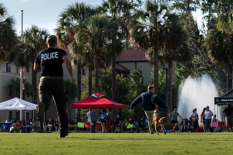 Airmen assigned to the 23d Security Forces Squadron (SFS) perform a military working dog demonstration during National Night Out at the main campus of Valdosta State University Aug. 6, 2019, in Valdosta, Ga. National Night Out is an annual event that promotes relationships between police and the community in an effort to prevent crime. Representatives from Team Moody participated to create local community awareness and build support for the Air Force mission. (U.S. Air Force photo by Airman 1st Class Hayden Legg)