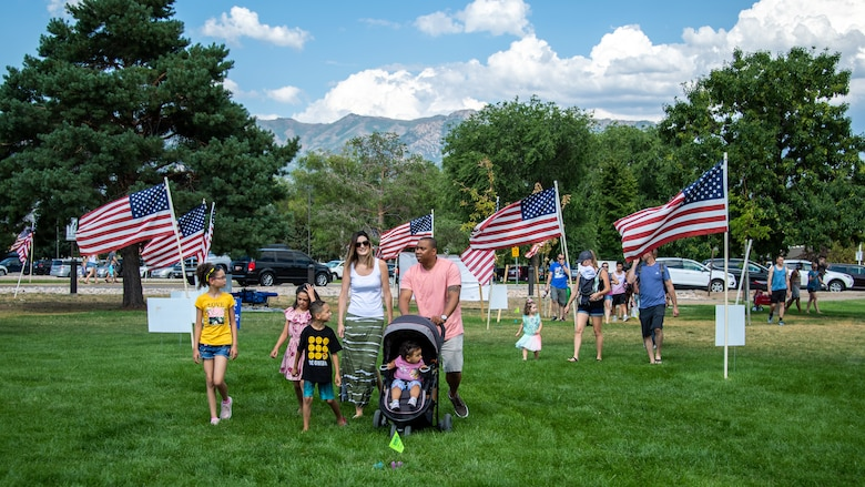 Families gather for the annual Salute Picnic at Hill Air Force Base, Utah, Aug. 2, 2019. This was the 19th year the Top of Utah Military Affairs Committee sponsored the event for Hill's military and family members. The first event was held December 2001 as a welcome home celebration for military deployed following 9/11. (U.S. Air Force photo by R. Nial Bradshaw)