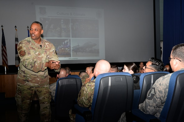Chief Master Sergeant Anthony Johnson, Pacific Air Forces command chief, speaks to Airmen stationed at Osan Air Base, Republic of Korea, August 2, 2019.