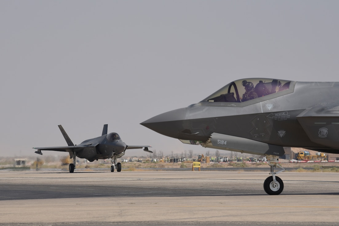 F-35A Lightning IIs from Hill AFB participate in Exercise Agile Lightning while deployed.
