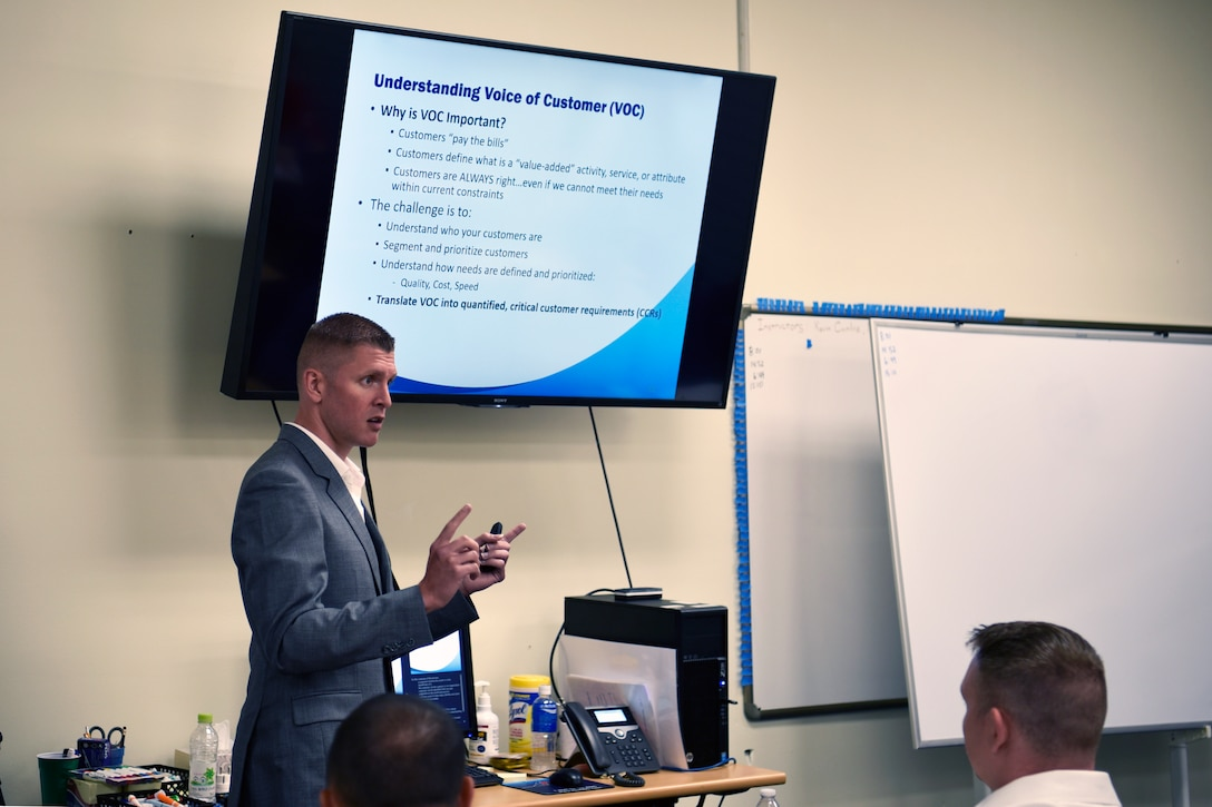 U.S. Air Force Staff Sgt. Matthew Connelly, 8th Maintenance Squadron combat plans and training supervisor, instructs a class on how to turn customer feedback into measurable data during the Continuous Process Improvement class at Kunsan Air Base, Republic of Korea, July 11, 2019. The data collected during the CPI class was used to create a problem statement and measure improvements implemented through innovations. (U.S. Air Force photo by Technical Sgt. Joshua P. Arends)