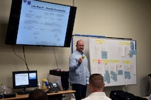 U.S. Air Force Master Sgt. Kevin Cumbie, 52nd Fighter Wing innovation and transformation office superintendent, provides an example of how to map a problem during the Continuous Process Improvement class at Kunsan Air Base, Republic of Korea, July 11, 2019. For this eight-hour class, Cumbie demonstrated the first three steps of Practical Problem Solving as a foundation for improving processes in the work place. (U.S. Air Force photo by Technical Sgt. Joshua P. Arends)
